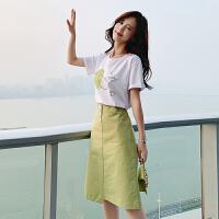 【T恤+半身裙 两件套】 牛油果绿连衣裙2019新款夏季女装潮收腰显瘦气质a字裙子两件套装
