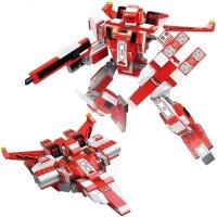 小鲁班 益智积木拼插玩具 拼装玩具 拼插模型变形机甲 红色飞机变形人 331块 B0257