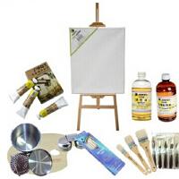 马利11件油画套装油画架 松节油油画颜料笔 12色 1套装