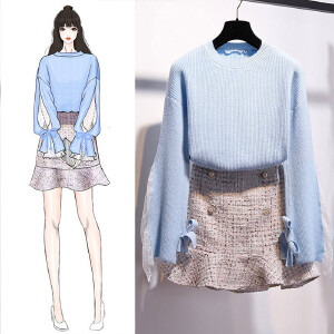VIPEBUY 小清新甜美毛衣+短裙两件套装女2018新款韩版蕾丝拼接加厚毛衣鱼尾半身裙两件套