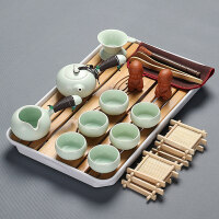 【新品热卖】整套功夫茶具套装家用竹制茶盘小号日式茶楼泡茶宿舍茶杯茶海