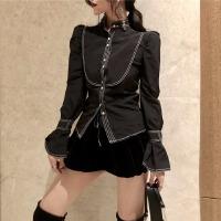 春季女装新款明线装饰灯笼袖衬衫上衣+高腰丝绒灯笼裤阔腿裤套装
