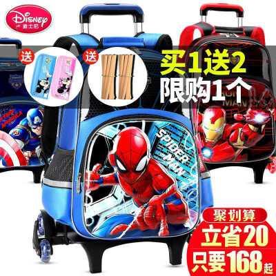 迪士尼拉杆书包小学生女男孩1-3一6年级儿童蜘蛛侠六轮拉杆箱拖拉 升级6轮 可爬楼 重心稳 不侧翻 孩子更喜欢