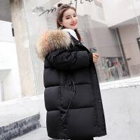 冬季羽绒棉衣女新款韩版加厚外套宽松面包服中长款棉袄女 黑色 S