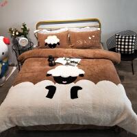 新品秋冬季加厚羊羔绒可爱儿童卡通ins风珊瑚绒四件套法兰绒床单被套定制 1.5m(5英尺)床 床笠款(包床垫)