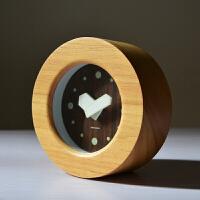 201907011726397562019新品新品家居创意木质可爱小座钟简约时尚静音卧室实木台钟床头钟圆形 岁月童话