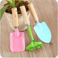 家庭园艺工具迷你木柄小铁铲耙子三件套装种花盆栽小花铲