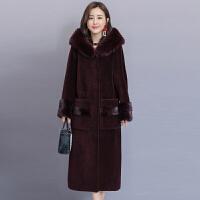 2018颗粒羊毛大衣女羊剪绒新款连帽一体冬季海宁女士皮草外套加厚