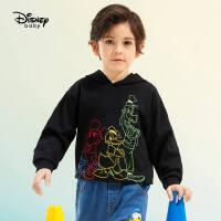 迪士尼童装男童连帽卫衣儿童宝宝2021春装新款洋气套头卡通上衣潮