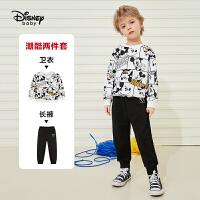 迪士尼男童套装2021春新款儿童针织圆领卫衣长袖套装两件套男