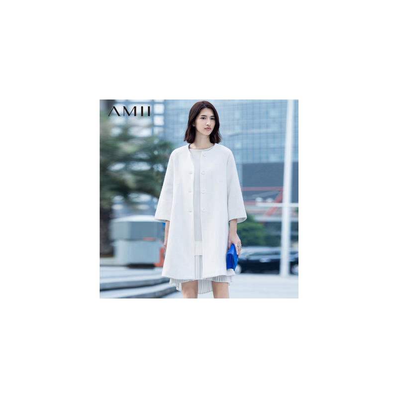 Amii秋冬装新款羊毛呢大衣呢子九分袖外套中长款女装.