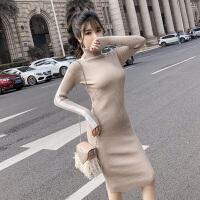 冬装新款韩版气质条纹高领长袖打底裙子修身包臀显瘦针织连衣裙女