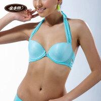 金丰田 女士性感时尚挂脖前扣光面文胸上薄下厚杯型胸罩E5064