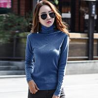 长袖T恤女秋天新款高领针织衫紧身显瘦韩版套头内搭打底衫
