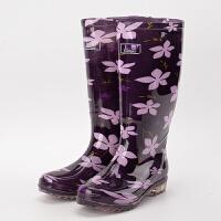 新品雨鞋女高筒防水雨靴牛筋底防滑女士水鞋长筒胶鞋套鞋加绒保暖 紫色 紫花无棉套 40 鞋内长24.5cm