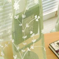 窗帘纱绣花飘窗阳台客厅半透明纱田园窗帘成品白色卧室定制