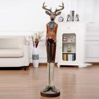 家居饰品摆件美式客厅落地麋鹿先生创意装饰品树脂工艺品复古摆设 麋鹿先生 29.5*26*124cm