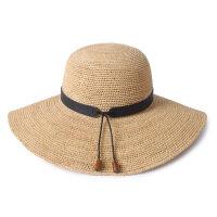 帽子拉菲草帽女夏天遮阳帽沙滩帽女海边太阳帽防晒帽大檐帽可折叠 可调节(55-58cm)