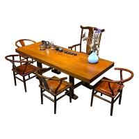 【新品】胡桃木实木大板桌茶桌椅组合巴原木整板桌书桌新中式实木家具 巴花大板 送支架(配件另算 220x100x1cm 8