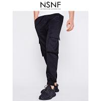 NSNF双立体袋风格黑色男士长裤 休闲裤 2017年新款男士休闲裤 潮牌男裤