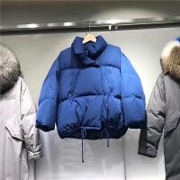 短款棉衣女2018冬季新款韩国孔雀蓝加厚羽绒面包服外套