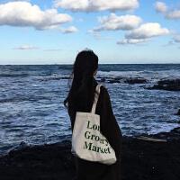 ins文艺帆布包学生单肩包手提包chic帆布袋潮女包大包 London(有拉链)墨绿色