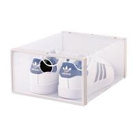 新品加厚塑料翻盖鞋盒整理收纳盒男女鞋盒子储物组合鞋柜鞋架 33.5x23.5x13.5cm
