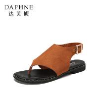 Daphne/达芙妮杜拉拉 春夏绒面夹脚平底扣带罗马凉鞋