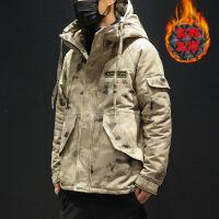 男士新款冬季迷彩棉衣韩版潮流学生加厚冬天棉袄外套 灰迷彩 M