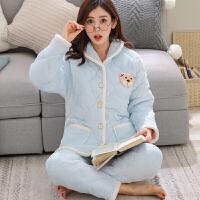 睡衣女冬季三层加厚法兰绒睡衣套装韩版可爱学生珊瑚绒夹棉家居服