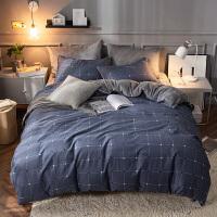 A纯棉B珊瑚绒四件套全棉法兰绒法莱绒被套床单冬季保暖床上棉加绒 灰色 印象