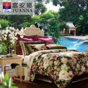 [当当自营]富安娜家纺纯棉四件套1.5米1.8米床印花套件 塞纳舞曲 紫色 1.8m