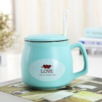 陶瓷杯子带盖勺早餐马克杯定制个性潮流创意家用水杯办公室咖啡杯