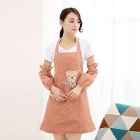韩式防水围裙带袖套奶茶店美容院餐厅咖啡店工作服可爱时尚女夏天