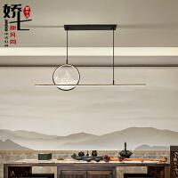 新中式餐厅吊灯长方形中国风禅意山水简约吧台茶室书桌书房间灯