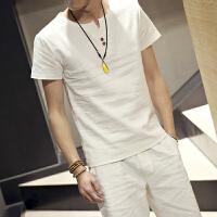 夏季新品亚麻男短袖套装复古日系纯色大码棉麻休闲T恤套装