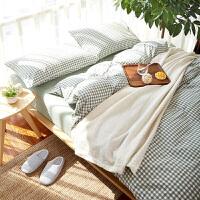 北欧裸睡床上水洗棉床单四件套被套全棉三件套1.8m床简约纯棉双人定制