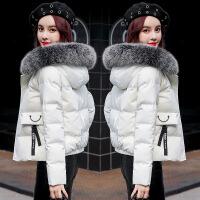 短款棉衣女冬季新款韩版宽松百搭加厚小棉袄女装羽绒外套 米白色 S