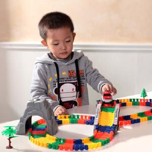 橙爱立昕 五彩博乐园轨道玩具车 轨道车 儿童益智拼搭玩具