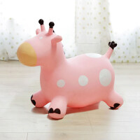 儿童橡胶����气马小宝宝充气玩具跳跳马加大加厚婴儿坐骑 芭比粉(送充气泵)