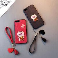 卡通送福猪款iphone6s手机壳卡通8苹果7plus红色X挂绳XR女Xsmax中国风潮六七八套