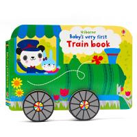 英文原版绘本 Usborne Baby's Very First Train Book 小火车造型书 纸板书 宝宝的火车