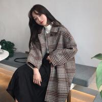 秋冬季流行格子大衣韩版新款中长款学生加厚赫本风毛呢外套女 均码