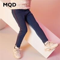 MQD童装女童牛仔裤2019冬季新款加厚银狐绒儿童裤潮