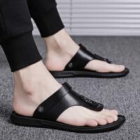 新款夏季男士凉鞋韩版潮流个性人字拖男室外两用皮凉拖鞋外穿