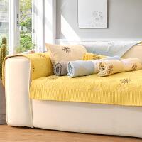 北欧沙发垫布艺四季通用坐垫子防滑简约冬季皮沙发套罩靠背巾实木