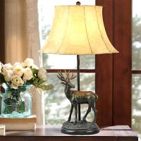 北欧式麋鹿床头灯欧式复古创意婚庆客厅卧室床头美式乡村装饰台灯 麋鹿台灯