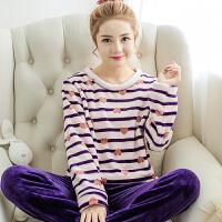 2018秋冬季珊瑚绒睡衣女可爱卡通舒适套头法兰绒家居服圆领套装