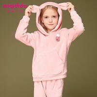 米奇丁当女童运动套装冬装休闲加绒连帽洋气儿童金丝绒两件套