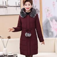 中老年冬装羽绒女中长款棉袄40-50岁妈妈装大码加厚棉衣外套